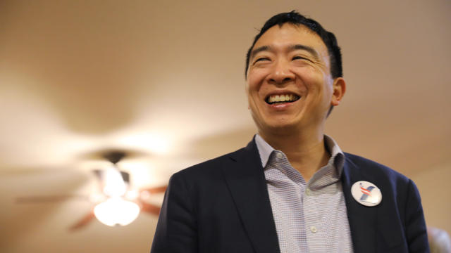 U.S. 2020 Democratic presidential candidate Andrew Yang attends Potluck Insurgency, a local democratic activist event, at the home of one of its members in Iowa City, Iowa