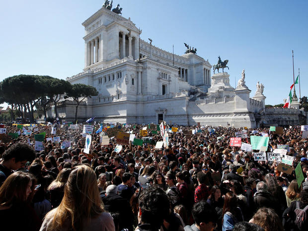 Students take part in a protest demanding action on climate change in Rome