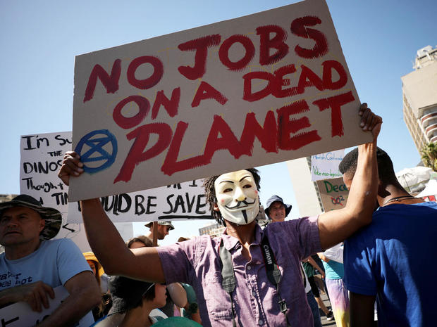 Students take part in a global protest against climate change in Cape Town, South Africa