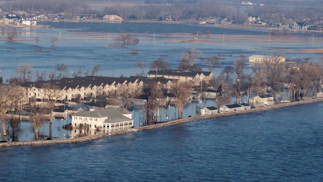An aerial view of the flooding at the Camp Ashland in Nebraska