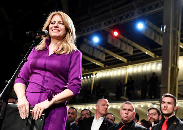 Slovakia's presidential candidate Zuzana Caputova speaks after winning the presidential election, at her party's headquarters in Bratislava