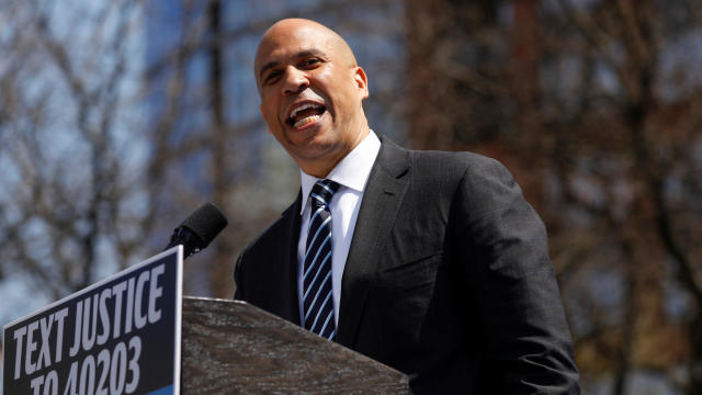 U.S. Senator Booker arrives at his Hometown Kickoff event in Newark, New Jersey