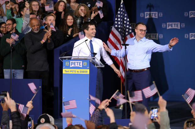 South Bend's Mayor Pete Buttigieg and his husband Chasten Buttigieg attend a rally to announce Pete Buttigieg's 2020 Democratic presidential candidacy in South Bend