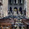 A view of the debris inside Notre-Dame de Paris in the aftermath of a fire that devastated the cathedral, during the visit of French Interior Minister Christophe Castaner in Paris