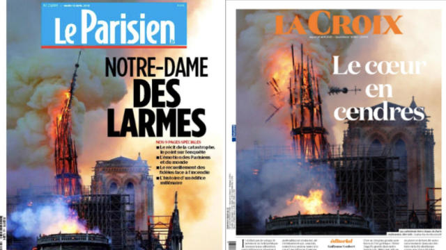french newspapers — Notre Dame Cathedral fire