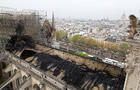 The top of Notre Dame Cathedral is seen after a massive fire April 15, 2019.