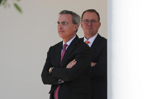 """White House Chief of Staff Mulvaney stands with White house counsel Cipollone during """"Be Best"""" anniversary event at the White House in Washington"""