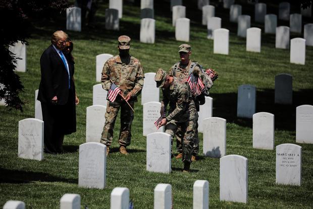 U.S. President Trump visits Arlington National Cemetery outside Washington in Arlington, Virginia