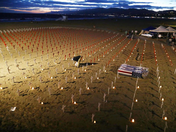 Beach Memorial Known As Arlington West Installed For Memorial Day Weekend