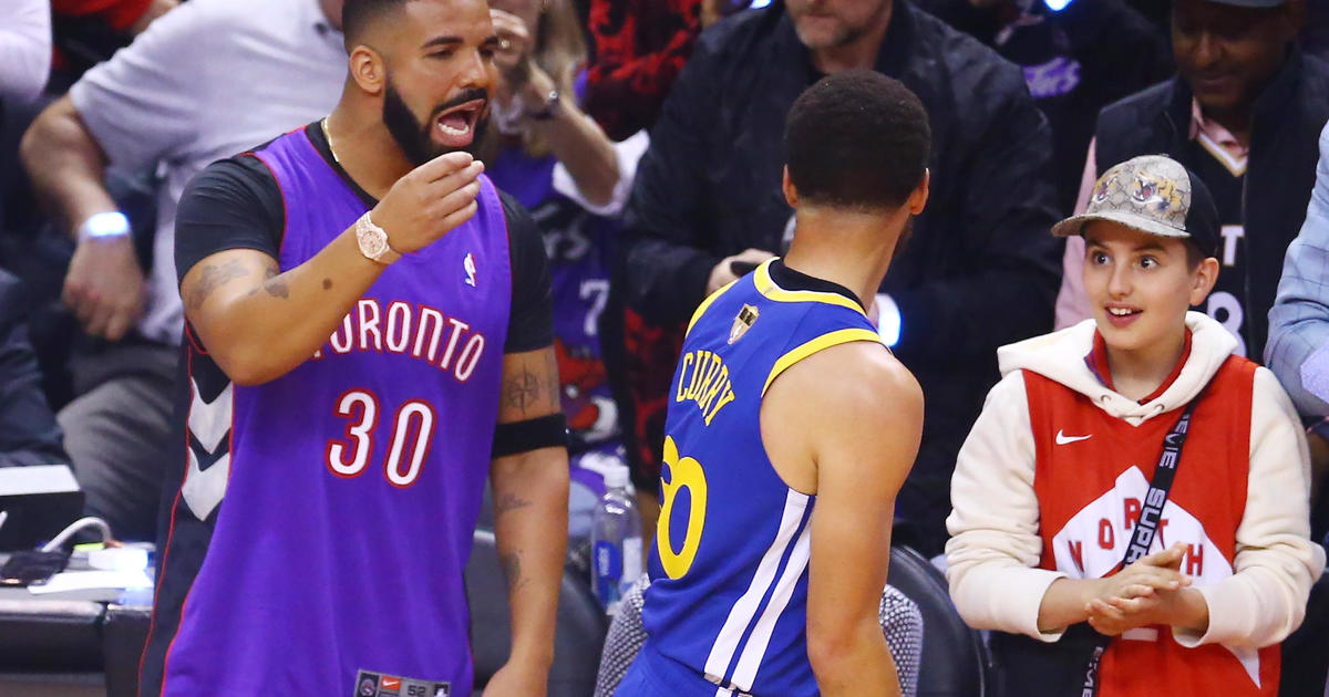 ea5a4ac679c Drake: Toronto Raptors superfan Drake trolls Stephen Curry, Draymond Green  and other Golden State Warriors players in NBA Finals - CBS News