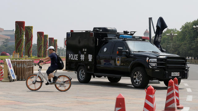 A police vehicle is deployed in Tiananmen Square in Beijing