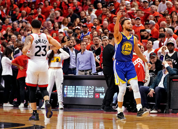 b02199aa078 NBA Finals: Golden State Warriors stay alive – barely, beat Raptors 106-105 in  Game 5 - CBS News