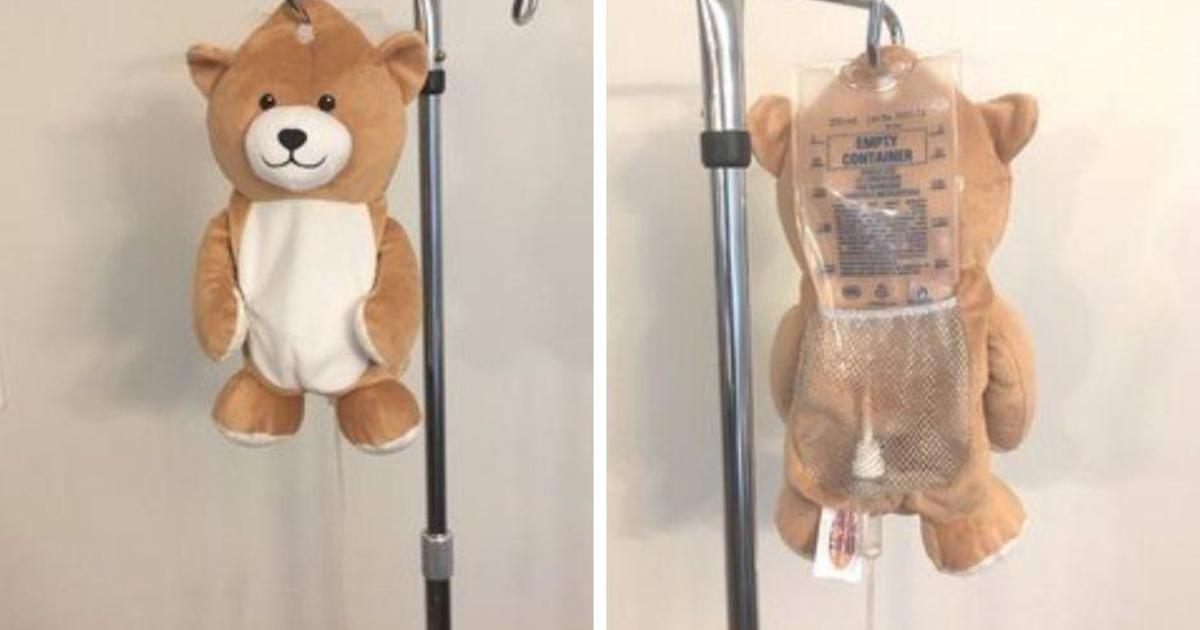 Once afraid of IVs, girl invents teddy bear pouches to hide them