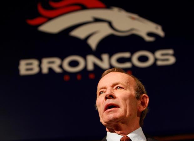 FILE PHOTO: Denver Broncos owner Pat Bowlen speaks about firing his head coach Mike Shanahan at Broncos headquarters in Denver