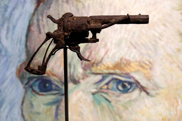 The gun believed to be used by painter Vincent van Gogh to shoot himself on July 27, 1890, in Auvers-sur-Oise, France, is presented by Drouot auction house in Paris June 14, 2019.
