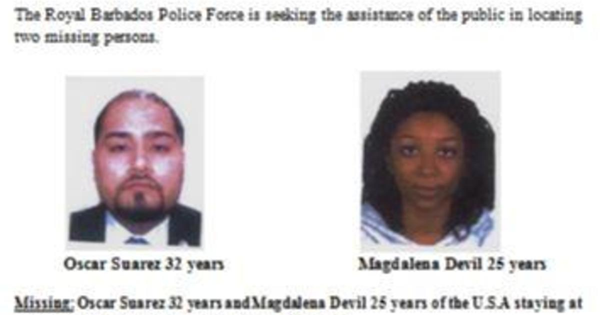 Couple missing in Barbados identified by police as Americans Oscar Suarez and Magdalena Devil, last seen on jet ski