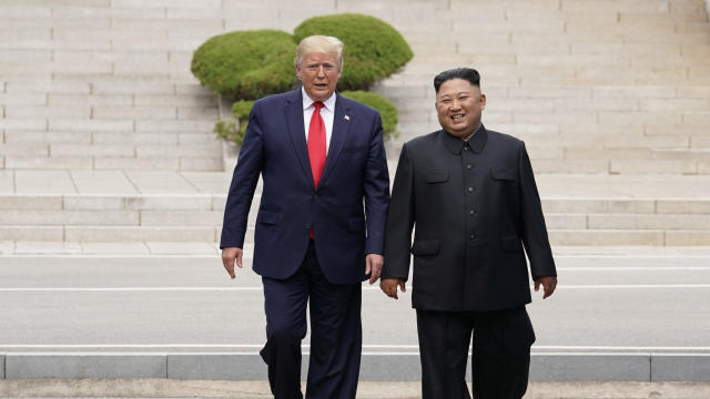 U.S. President Trump and North Korean leader Kim Jong Un meet at the Korean Demilitarized Zone
