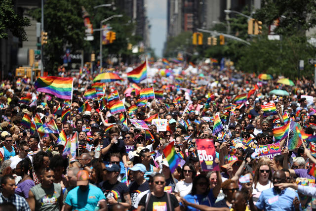 Participants take part in 2019 World Pride NYC and Stonewall 50th LGBTQ Pride Parade in New York