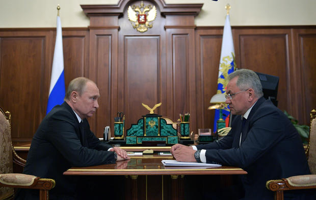 Russia's President Putin, Defense Minister Shoigu