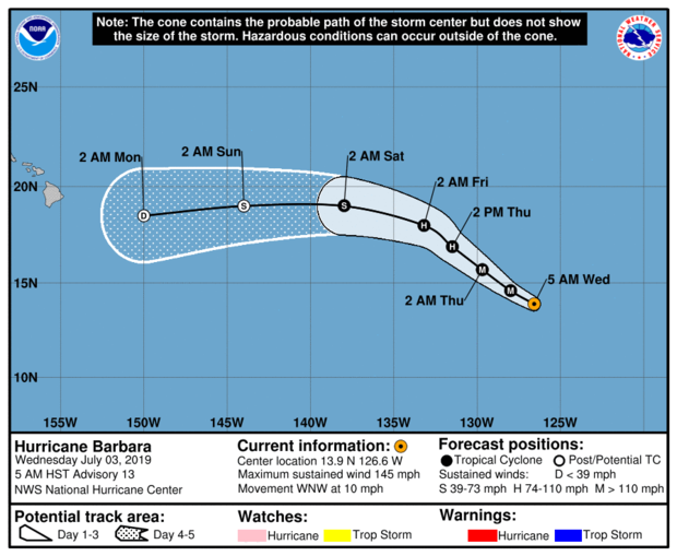 A map from the National Weather Service shows the projected path for Hurricane Barbara as of 11 a.m. ET on July 3, 2019.