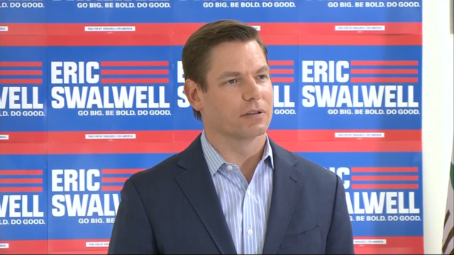 Rep. Eric Swalwell, D-California, speaks during a press conference July 8, 2019, in Dublin, California.