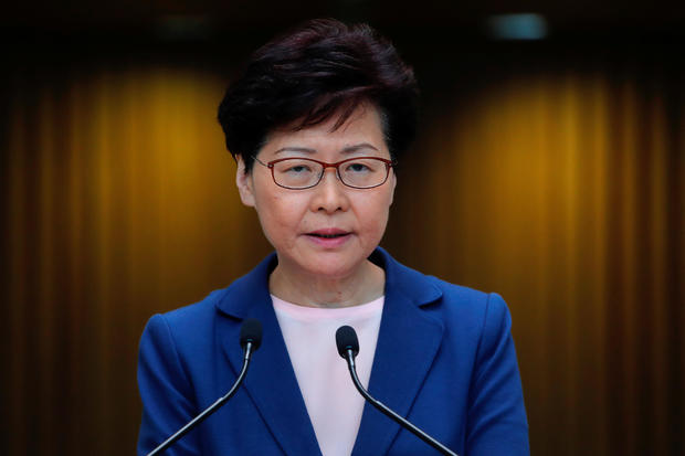 Hong Kong Chief Executive Carrie Lam speaks to media over an extradition bill in Hong Kong