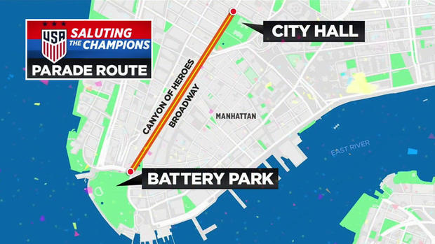 A map made by CBS station WCBS-TV shows the parade route for the World Cup-winning U.S. Women's National Team in New York City.
