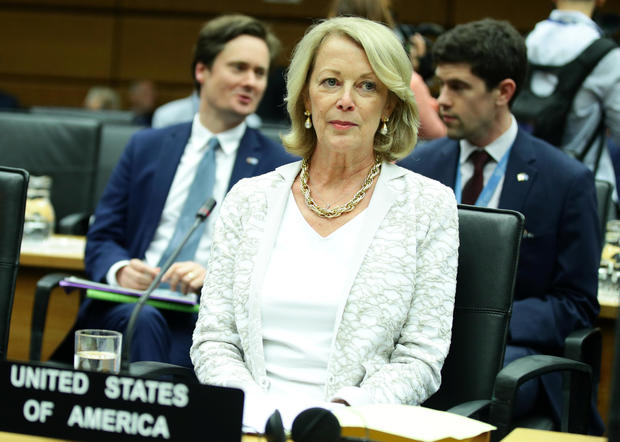 U.S. Ambassador to the International Atomic Energy Agency Jackie Wolcott waits for the start of a board of governors meeting at the IAEA headquarters in Vienna