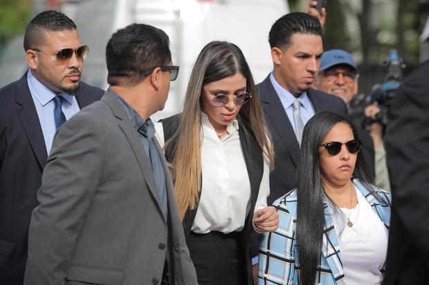 "Emma Coronel Aispuro, the wife of Joaquin Guzman, the Mexican drug lord known as ""El Chapo"", arrives at the Brooklyn Federal Courthouse in New York"