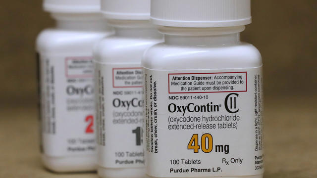 Bottles of prescription painkiller OxyContin made by Purdue Pharma LP on a counter at a local pharmacy in Provo