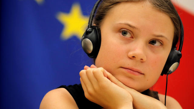 FILE PHOTO: Swedish environmental activist Greta Thunberg attends a debate with French parliament members at the National Assembly in Paris