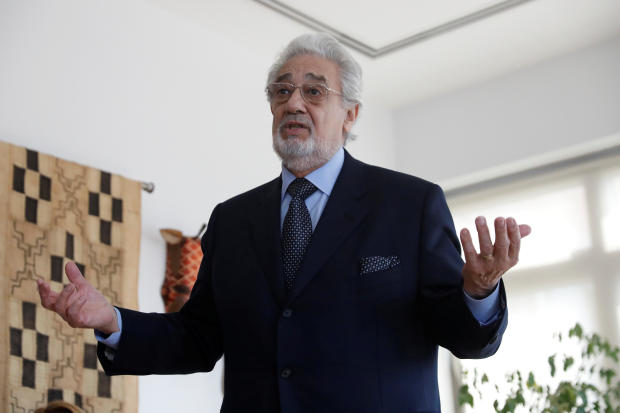 Opera singer Placido Domingo speaks during an event at the Manhattan School of Music in New York
