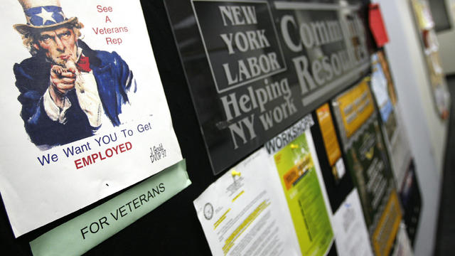A job resource flier is seen on the community resources wall at the New York State Department of Labor in New York