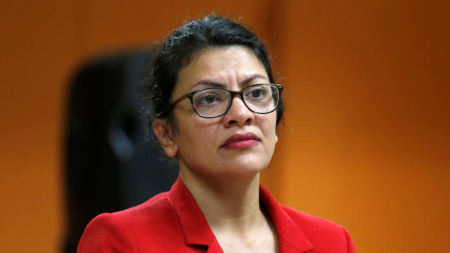 U.S. Rep. Rashida Tlaib listens to a comment from a constituent during a town hall-style meeting in Inkster, Michigan, Aug. 15, 2019.