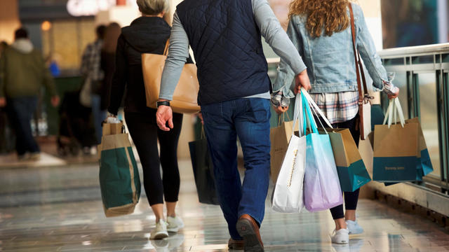 FILE PHOTO: Shoppers carry bags of purchased merchandise at the King of Prussia Mall in King of Prussia