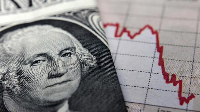 Stock Market Graph next to a 1 dollar bill