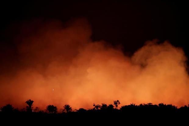 Fire in an area of the Amazon rainforest near Humaita, Brazil