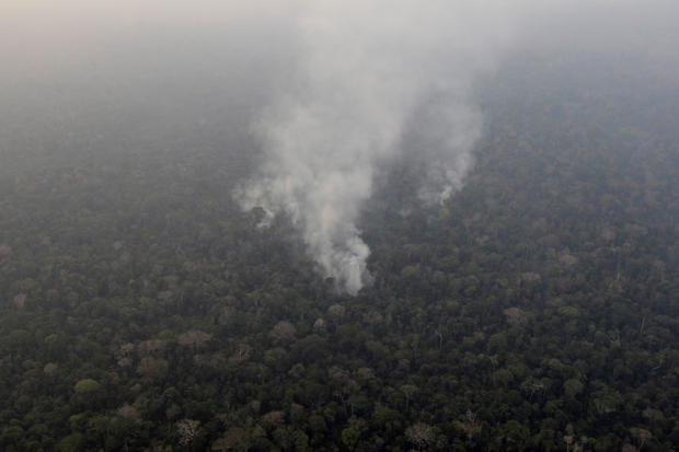 Smoke billows during a fire in an area of the Amazon rainforest near Porto Velho, Rondonia