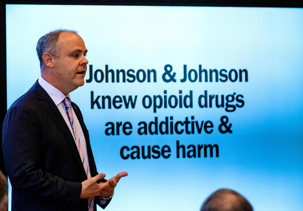State's attorney Brad Beckworth presents information in the opening statements during the Oklahoma v. Johnson & Johnson opioid trial at the Cleveland County Courthouse in Norman