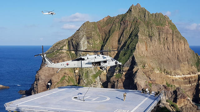 Members of South Korean Marine Corps take part in a military exercise in remote islands called Dokdo
