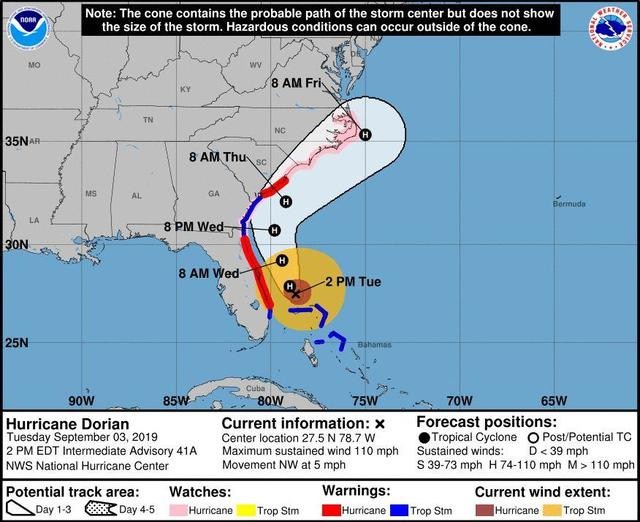 Hurricane Dorian Updates Category 2 Storm Expected To Shift