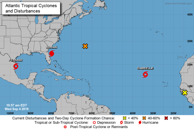 Tropical Storm Fernand and Tropical Stsorm Gabrielle