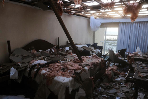 A hotel room in the aftermath of Hurricane Dorian in Marsh Harbour