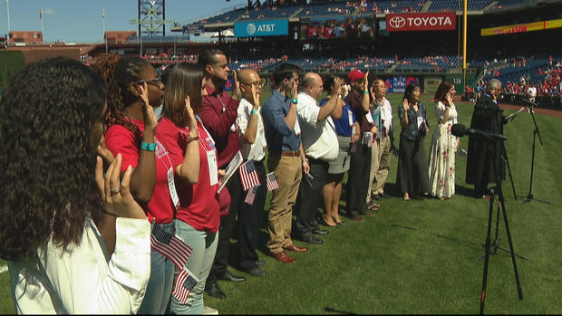 15 new Americans sworn in as citizens before the first pitch at Phillies-Red Sox game