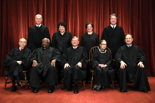 Front row from left to right, U.S. Supreme Court Associate Justice Stephen Breyer, Associate Justice Clarence Thomas, Chief Justice John Roberts, Associate Justice Ruth Bader Ginsburg, Associate Justice Samuel Alito Jr. Back row from left to right, Associ