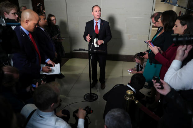House Intelligence Committee Chairman Schiff speaks to reporters after U.S. Ambassador to European Union Sondland failed to show on Capitol Hill in Washington