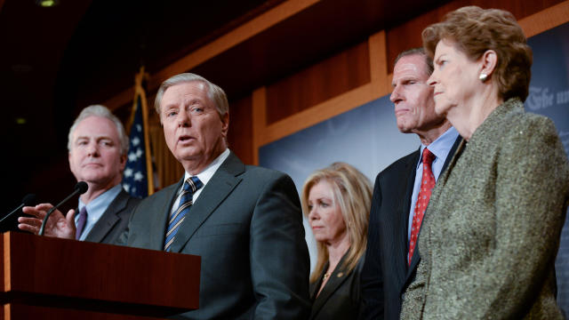 Sen. Graham announces a bipartisan agreement on Turkey sanctions during a news conference in Washington