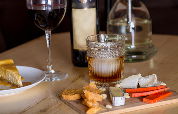 Cheese snacks and alcohol