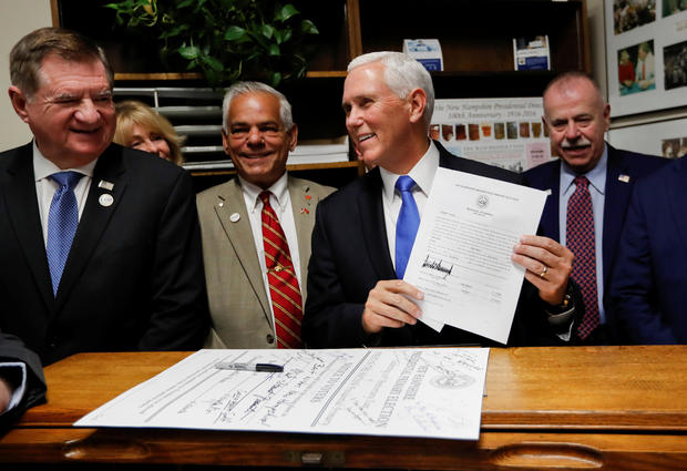 U.S. Vice President Pence files candidacy papers for President Trump to appear on the 2020 New Hampshire primary election ballot in Concord