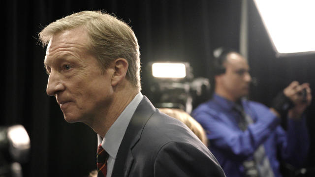 Billionaire activist Tom Steyer moves between interviews in the spin room after the sixth 2020 U.S. Democratic presidential candidates campaign debate at Loyola Marymount University in Los Angeles, California, U.S.
